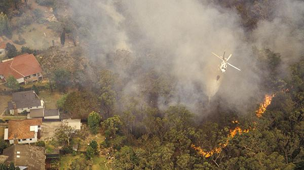 Plane drops water on to bushfire
